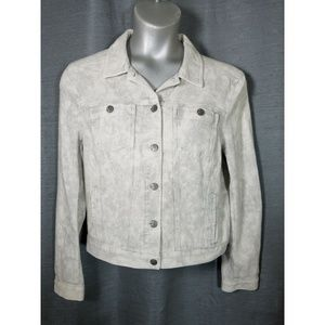 Lou & Grey Large Gray White Waffle Texture Jacket
